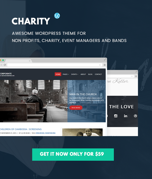 Premium charity theme for WordPress