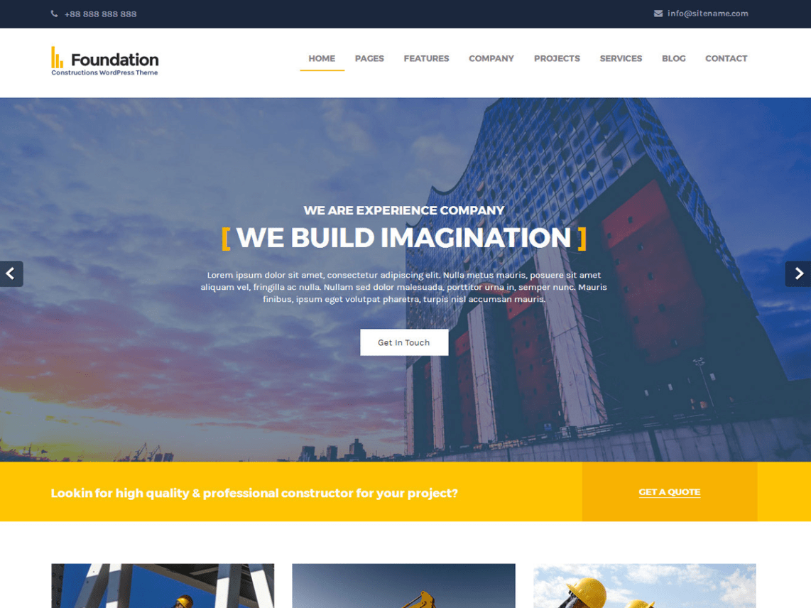 Foundations, Free WordPress themes for Architects