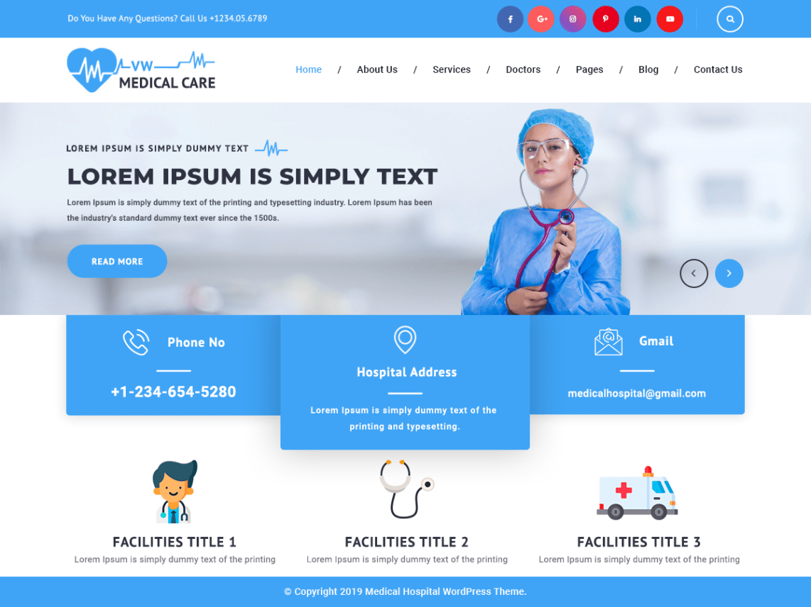 Free medical WordPress themes, VW Medical Care