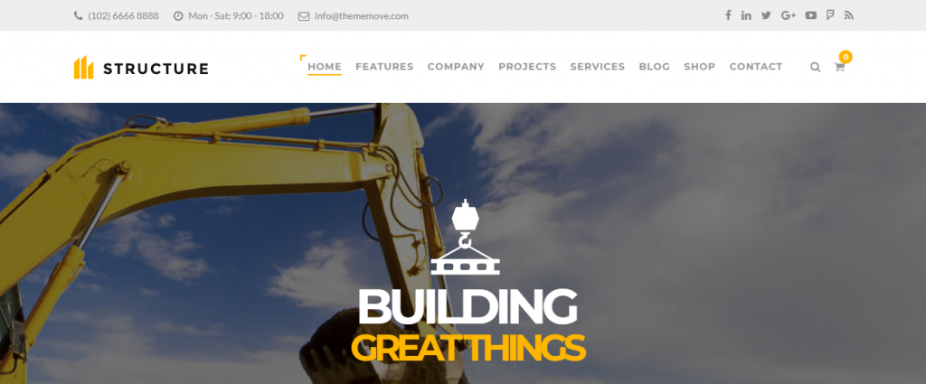 Structure, premium construction companies WordPress themes
