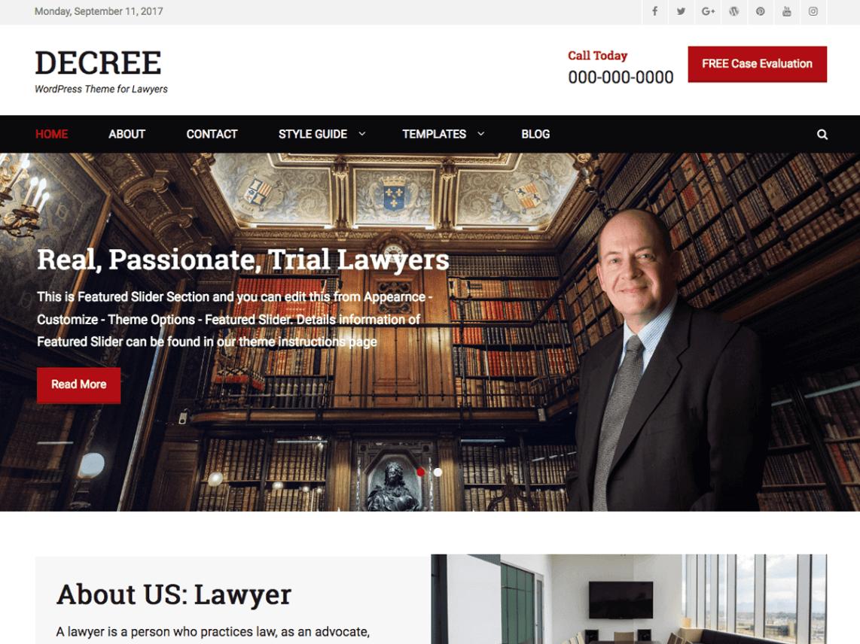 free lawyer WordPress themes,, Decree