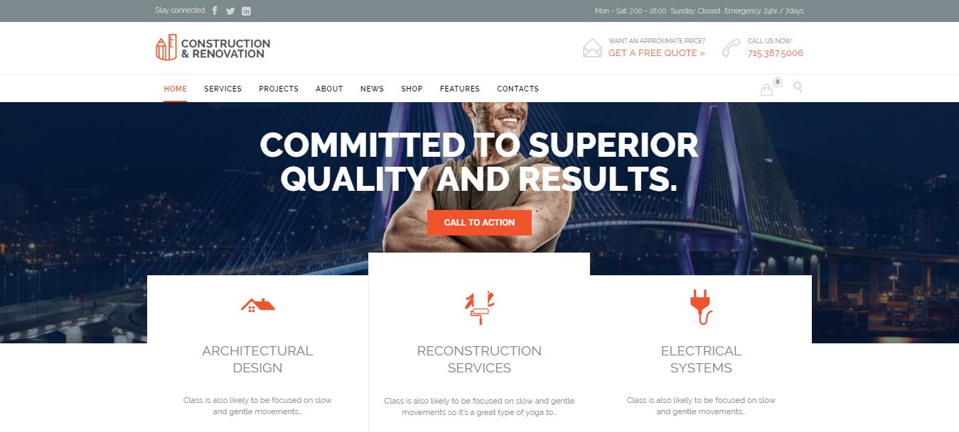 construction companies WordPress themes