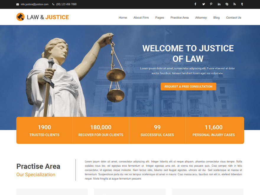Justice, free lawyer WordPress themes