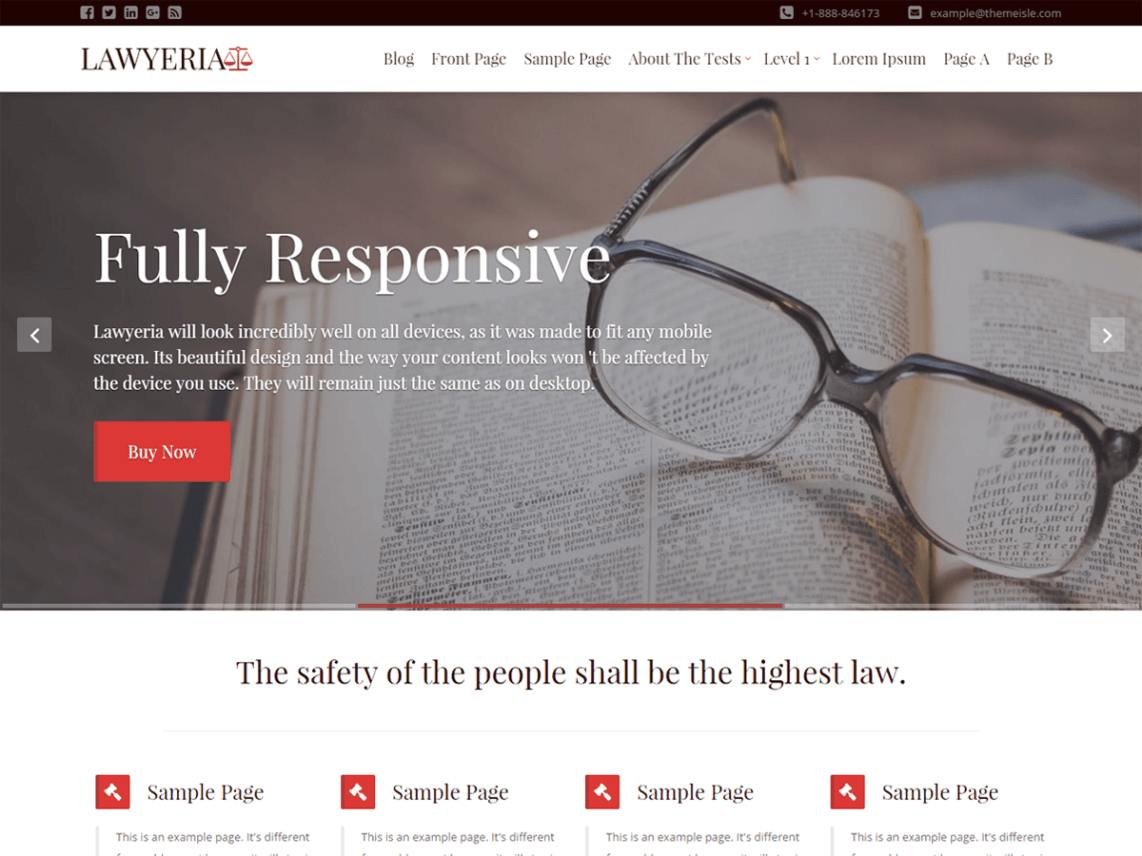 LawyeriaX Lite, free lawyer WordPress themes,