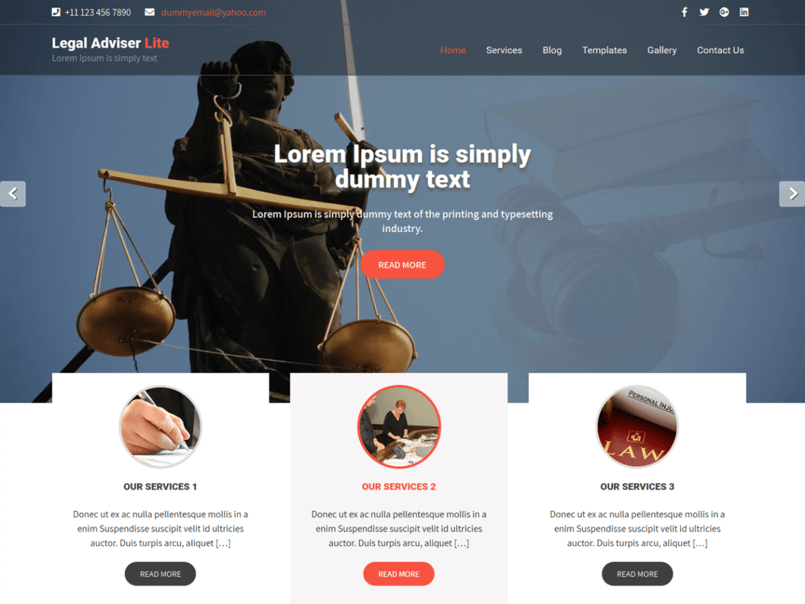 free lawyer WordPress themes, legal Adviser Lite