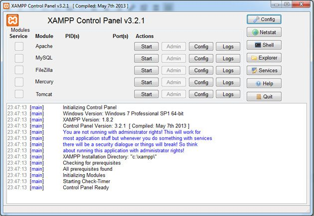 XAMPP Control Panel, localhost WordPress installation