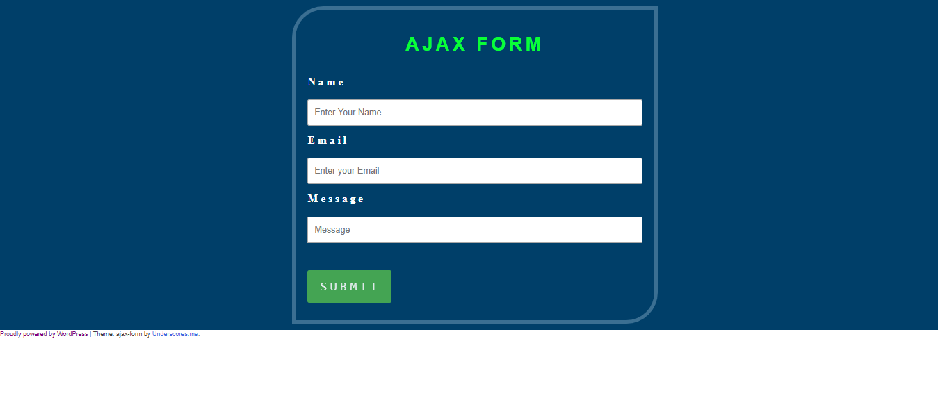 WordPress Ajax Form