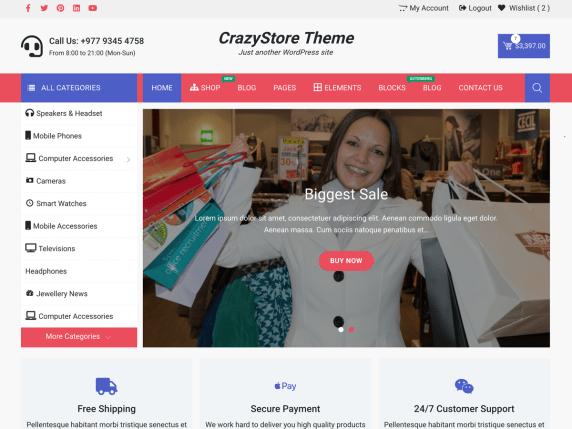 Crazystore-best-free-WooCommerce-eCommerce-WordPress-themes-CodePixelz